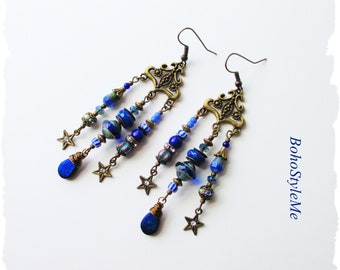 Bohemian Blue Beaded Dangle Earrings, BohoStyleMe Jewelry, Modern Hippie Gypsy Earrings, Boho Fashion Jewelry
