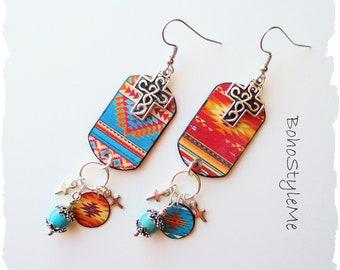Turquoise Boho Southwest Silver Cross Earrings, BohoStyleMe, Mixed Media Asymmetrical Dangle Earrings, Colorful Earrings