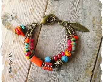 Bright Bold Boho Bracelet, Colorful Beaded Bracelet, Bohemian Jewelry, Fun Boho Jewelry, BohoStyleMe