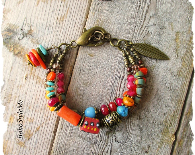 Featured listing image: Bright Bold Boho Bracelet, Colorful Beaded Bracelet, Bohemian Jewelry, Fun Boho Jewelry, BohoStyleMe