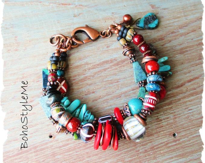 Featured listing image: Rustic Boho Tribal Beaded Layer Bracelet, Bohemian Jewelry, BohoStyleMe, Modern Hippie, Southwest Mixed Stone Bracelet
