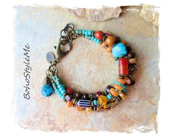 Boho Rustic Tribal Beaded Gemstone Bracelet, Turquoise Bracelet, Modern Hippie Chic Jewelry, Bohemian Jewelry, BohoStyleMe