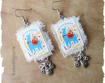 Boho Mama Llama Earrings, BohoStyleMe, Whimsical Llama Love Altered Earrings, Fun Mixed Media Bohemian Earrings