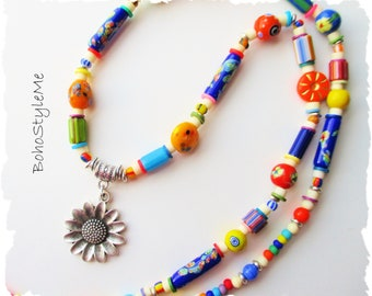 Colorful Beaded Boho Modern Hippie Necklace, BohoStyleMe, Bohemian Jewelry, Long Mixed Color Necklace, Hippie Chic
