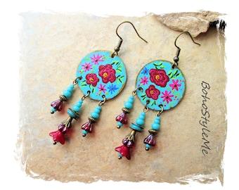 Boho Colorful Hand Painted Floral Rose Earrings, Bohemian Jewelry, BohoStyleMe, Modern Hippie Chic Earrings, Flower Earrings