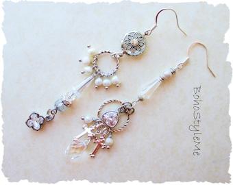 Chic Elegant Asymmetrical Earrings Silver Mismatch Earrings Bohemian Wedding Crystal Pearl Boho Style Earrings, BohoStyleMe