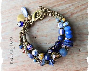 Bohemian Jewelry, BohoStyleMe, Blue Grey Boho Nature Inspired Bracelet, Handmade Rustic Beaded Bracelet, Denim Blue