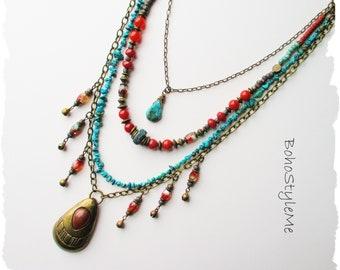 Vintage Brass Pendant Necklace, Handmade Beaded Bohemian Necklace, BohoStyleMe, Long Layered Tiered Boho Necklace