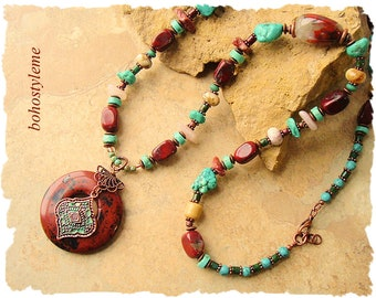 Closeout, Clearance, Final Sale, Bohemian Jewelry, bohostyleme, Chunky Rustic Turquoise Stone Necklace