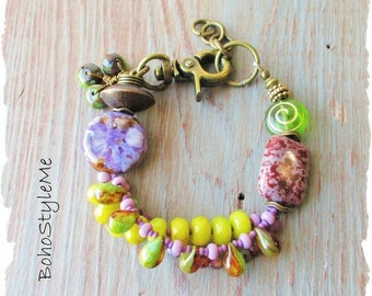 Boho Colorful Beaded Stone Bracelet Jewelry, BohoStyleMe, Modern Hippie Bracelet, Bold Green and Purple Stone Bracelet