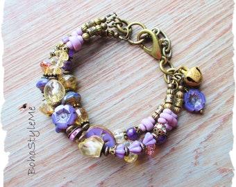 Bohemian Jewelry, BohoStyleMe, Citrine and Amethyst Bracelet, Beaded Modern Hippie Bracelet, Global Chic Stone Bracelet