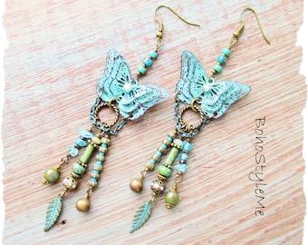 Bohemian Turquoise Blue Butterfly Assemblage Earrings, BohoStyleMe, Modern Hippie Jewelry, Long Butterfly Earrings