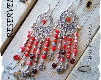 Reserved - Peace and Love Boho Gypsy Earrings, BohoStyleMe, Handmade Bohemian Jewelry, Modern Hippie Earrings, Valentine Gift