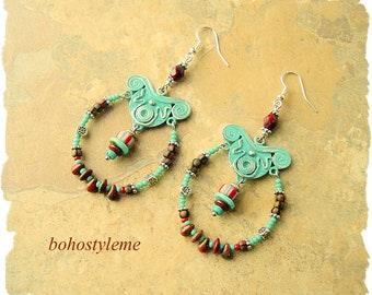 Closeout - Clearance - Final Sale - Rustic Boho Beaded Earrings, Bohemian Statement Jewelry, bohostyleme