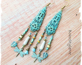 Long Boho Chandelier Earrings, Bohemian Jewelry, BohoStyleMe, Modern Hippie Jewelry, Dragonfly Earrings