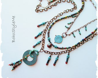 Rustic Tribal Bohemian Tiered Necklace, Handcrafted Mixed Color Beaded Necklace, BohoStyleMe, Free Style