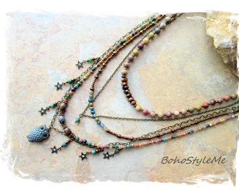 Natural Stone Beaded Bohemian Necklace, BohoStyleMe, Modern Hippie Jewelry, Night Owl, Tiered Owl Pendant Necklace