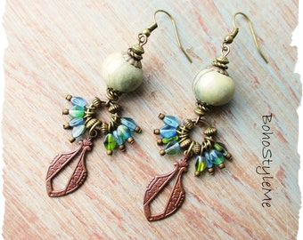Rustic Stone Beaded Dangle Bohemian Earrings, BohoStyleMe, Earthy Muted Green and Blue Earrings, Vintaj Drop Earrings