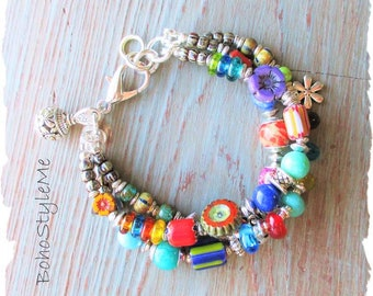 Boho Colorful Beaded Bracelet, BohoStyleMe, Bohemian Jewelry, Mixed Color Modern Hippie Bracelet, Free Style Hippie Jewelry