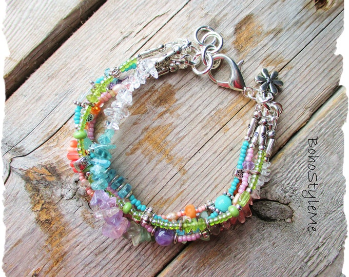 Featured listing image: Boho Semi-Precious Gemstone Bracelet, BohoStyleMe, Bohemian Jewelry, Mixed Color Pastel Layered Bracelet