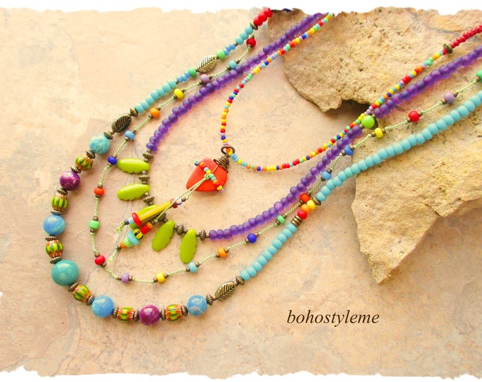 Featured listing image: Bohemian Necklace, bohostyleme, Boho Colorful Gypsy Style Necklace, Modern Hippie, Hand Knotted, Kaye Kraus