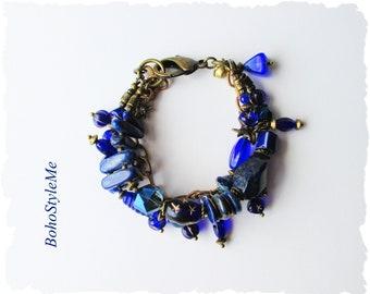 Vibrant Blue Boho Beaded Bracelet, Bohemian Jewelry, BohoStyleme Jewelry, Unique Layered Modern Hippie Bracelet