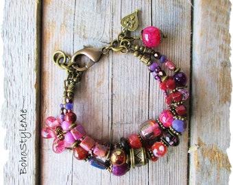 Boho Colorful Free Spirit Bracelet, BohoStyleMe, Handmade Bohemian Beaded Stone Bracelet, Vibrant Layer Bracelet