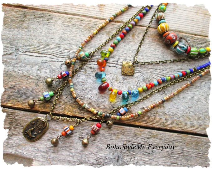 Featured listing image: Boho Colorful Layered Necklace, Singing Wolf Pendant Necklace, Nature Necklace, Wolf Lover, BohoStyleMe