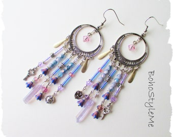 Long Boho Chandelier Earrings, BohoStyleMe, Bohemian Earrings, Handmade Purple and Blue Crystal Earrings, Modern Hippie Earrings