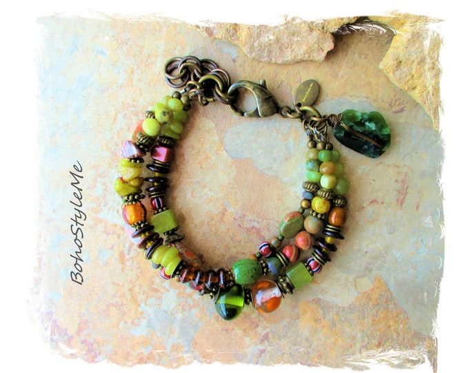 Featured listing image: Green Boho Beaded Nature Bracelet, Bohemian Jewelry, BohoStyleMe, Natural Rustic Stones, Forest Floor, Modern Hippie Jewelry