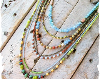 Bohemian Stone Necklace, BohostyleMe, Nature Inspired Multi-Strand Blue Green Necklace, Modern Beaded Hippie Jewelry