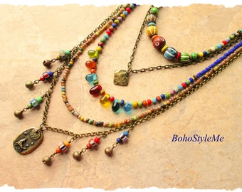 Bohemian Necklace, Boho Colorful Layered Necklace, Nature Inspired Jewelry, Gift for Her, BohoStyleMe, Kaye Kraus