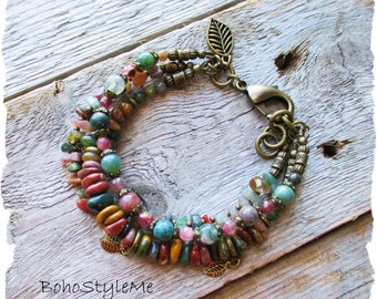 Boho Semi-Precious Stone Bracelet, BohoStyleMe, Rustic Stone Bracelet, Mixed Natural Colors, Bohemian Jewelry