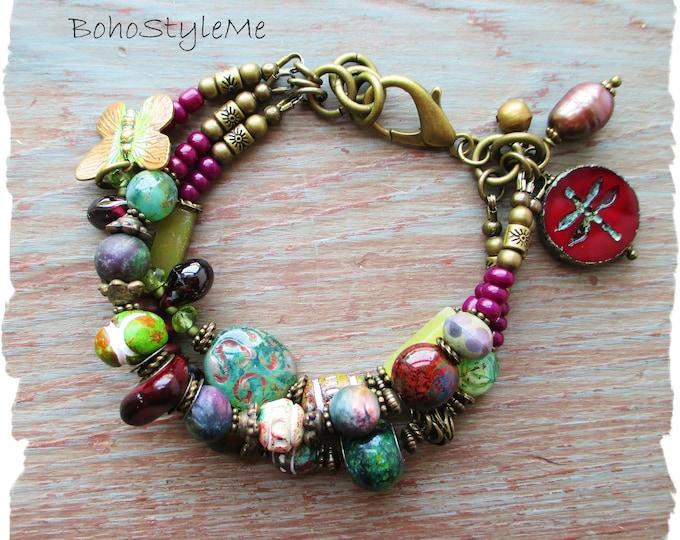 Featured listing image: Rustic Boho Style Green Beaded  Gemstone and Glass Bracelet, BohoStyleMe, Rich Jewel Tones, Modern Hippie Bohemian Jewelry