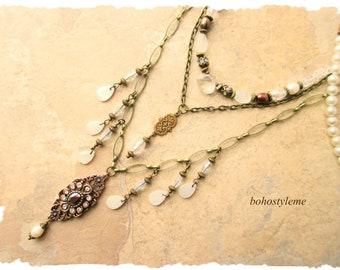 Bohemian Wedding, bohostyleme, Boho Bridal Jewelry, White Vintage Pearl Assemblage Necklace, Kaye Kraus