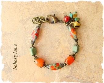 Bohemian Jewelry, bohostyleme, Chunky Stone Glass Beaded Bracelet, Colorful Modern Hippie Jewelry, Kaye Kraus