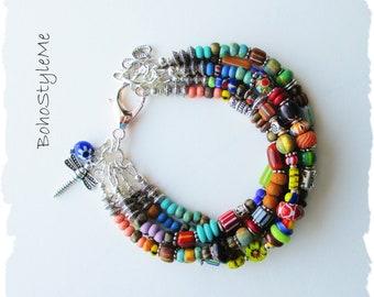 Boho Modern Hippie Colorful Beaded Dragonfly Bracelet, Bohemian Jewelry, BohoStyleMe, Handmade Layered Mixed Color Bracelet
