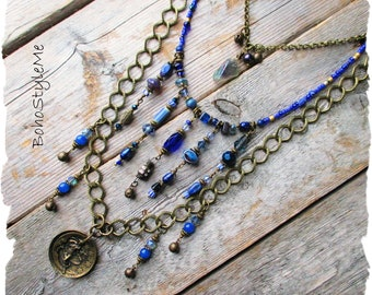 Blue Bohemian Layered Necklace, Brass Celestial Pendant Necklace, BohoStyleMe, Cobalt Blue, Fringe Dangle Necklace
