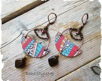 Boho Tribal Dangle Earrings, BohoStyleMe, Colorful Beaded Earrings, Bohemian Jewelry, Long Lightweight Earrings