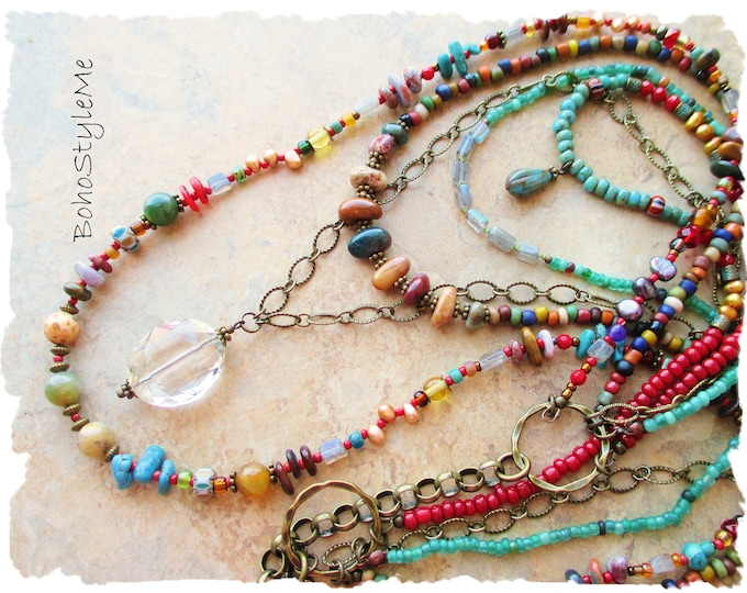 Featured listing image: Bohemian Necklace, Long Colorful Multiple Strand Beaded Necklace, Bohemian Jewelry, BohoStyleMe, Original Design, Mixed Colors