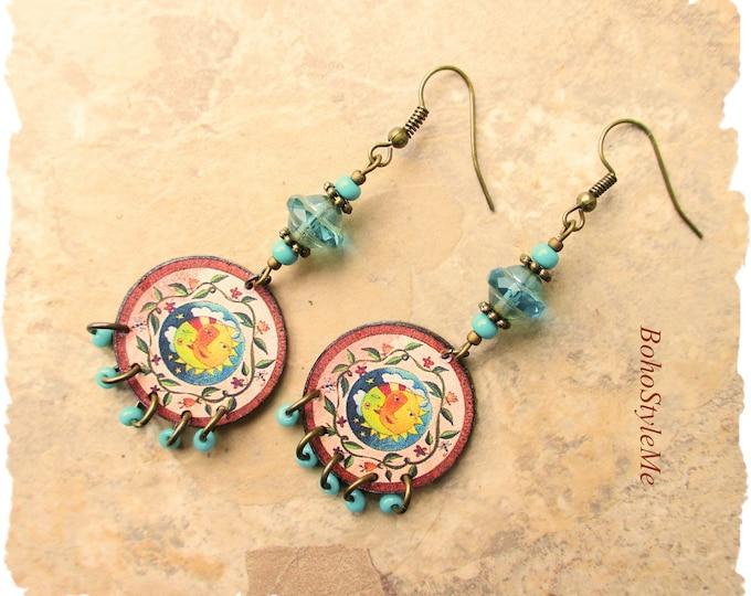 Featured listing image: Boho Style Earrings, BohoStyleMe, Colorful Folk Art Earrings, Modern Hippie, Handmade Earrings, Kaye Kraus