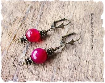 Colorful Boho Earrings, Fuschia Jewelry, Bohemian Earrings, Boho Jewelry, Pink Dangle Earrings, Everyday Earrings