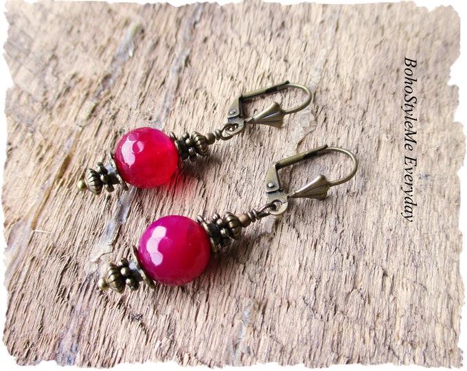 Featured listing image: Colorful Boho Earrings, Fuschia Jewelry, Bohemian Earrings, Boho Jewelry, Pink Dangle Earrings, Everyday Earrings