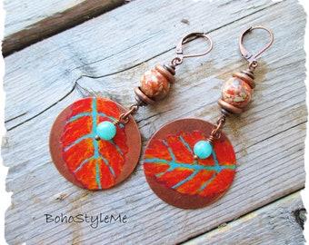 Colorful Autumn Leaves Boho Earrings, BohoStyleMe, Hand Painted Earrings, Bohemian Earrings, Dangle Leaf Earrings