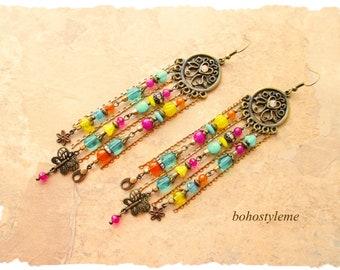 Bohemian Jewelry, bohostyleme, Boho Colorful Earrings, Long Handmade Chandelier Earrings, Boho Fashion, Kaye Kraus
