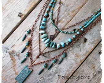 Boho Turquoise Beaded Necklace, Handmade Layered Bohemian Necklace, BohoStyleMe, Rustic Stone Chunky Necklace