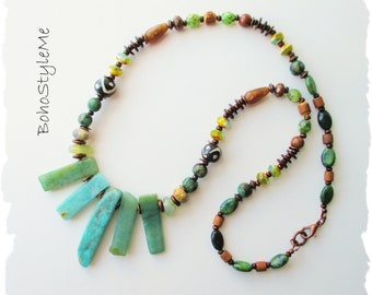 Bohemian Necklace, Green Stone Art Necklace, BohoStyleMe, Modern Hippie Jewelry, Handmade Global Chic Jewelry
