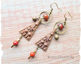 Boho Style Global Chic Assemblage Earrings, BohoStyleMe, Handmade Rustic Tribal Stone Dangle Earrings, Bohemian Jewelry