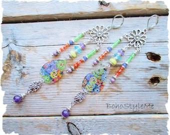Bohemian Jewelry, BohoStyleMe, Long Lightweight Boho Colorful Earrings, Handmade Dangle Earrings, Boho Fashion