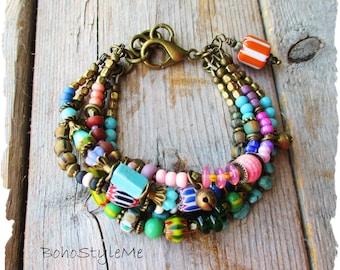 Boho Tribal Colorful Beaded Bracelet, BohoStyleMe, Handmade Bohemian Jewelry, Modern Hippie Jewelry Bracelet